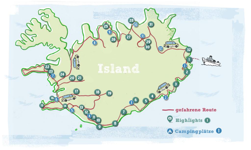 Island Karte Route