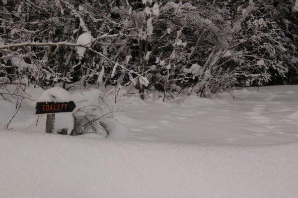 Toilettenschild eingeschneit Winter