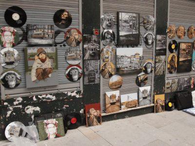 Streetart Schallplattengraffiti Porto Portugal