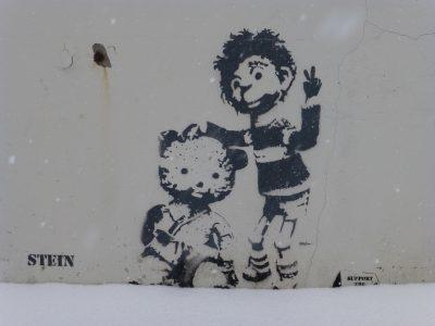 Streetart Graffiti Stencil Oslo Norwegen Stein