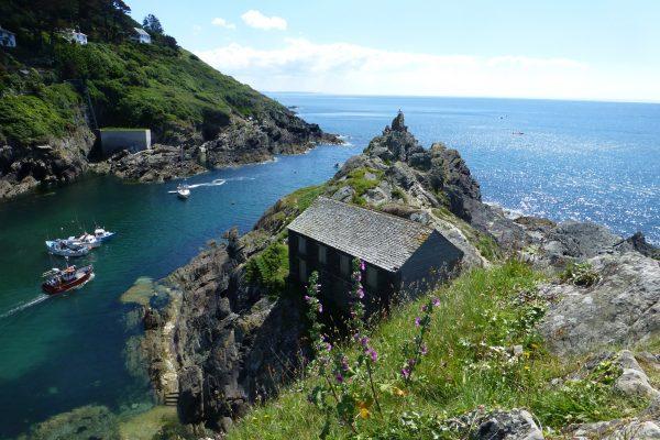 Idyllischer Hafen Cornwall Hütte am Meer